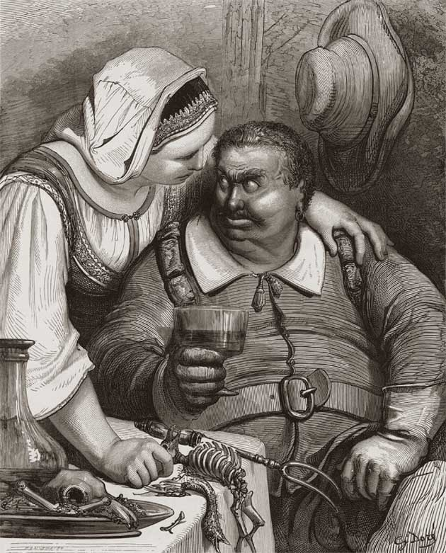 The Ogre at once asked if supper was ready and the wine drawn, and then sat himself down to table.