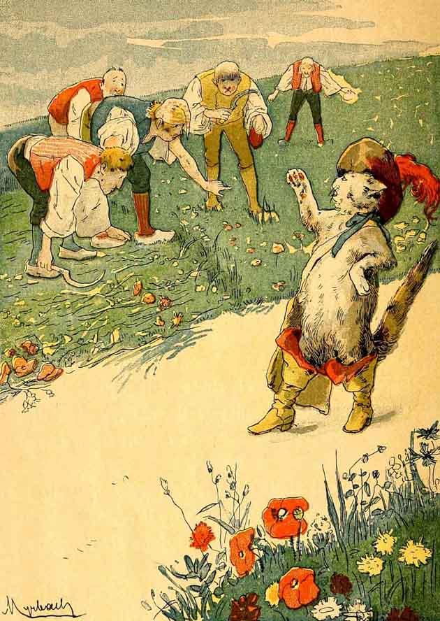 Monsieur Puss talking to the peasants.