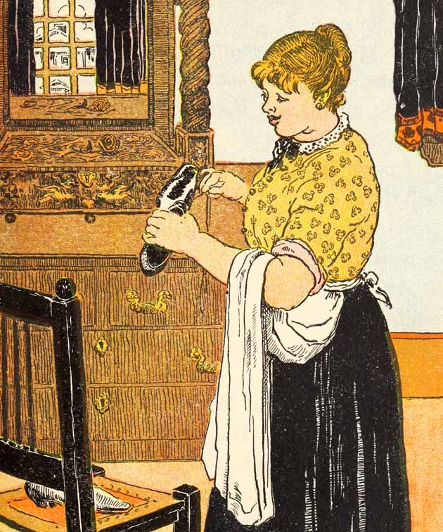 The Lady holding the Needle, sewing a shoe