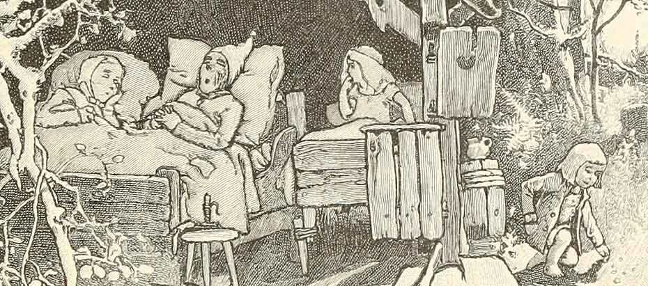 Hansel and Gretel are not asleep and hear their parents talking about letting them in the forest