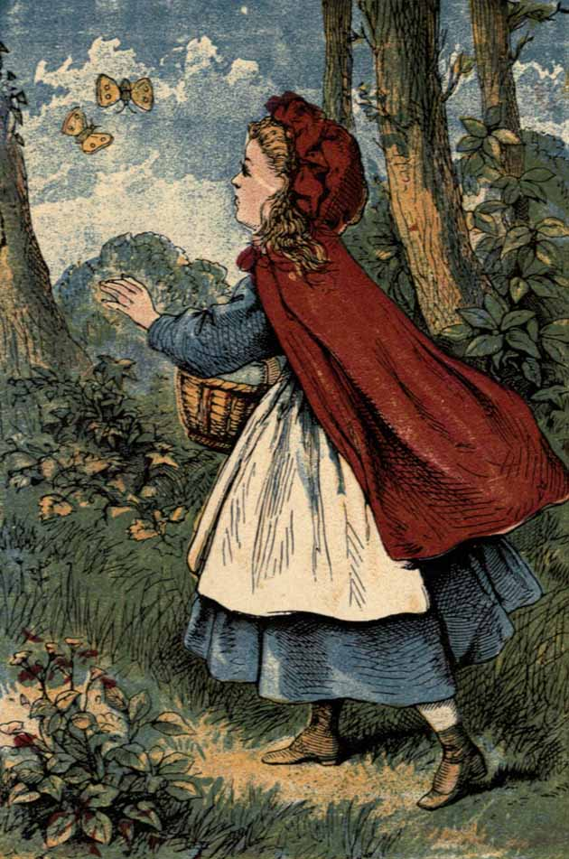 Little Red Riding Hood going farther and farther into the wood