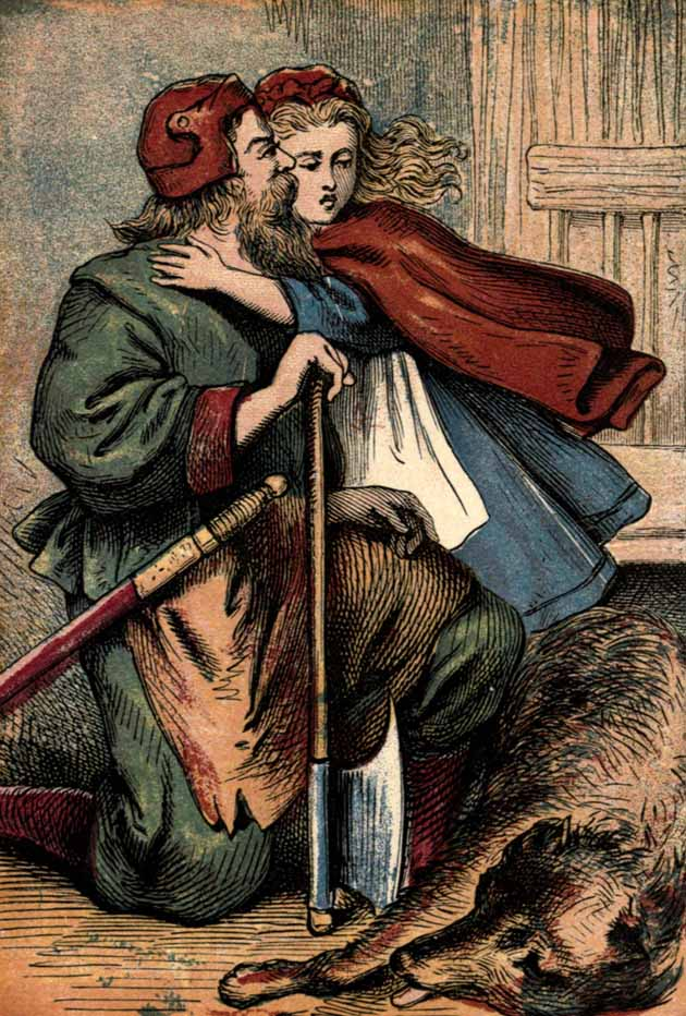 Little Red Riding Hood thanking the huntsman