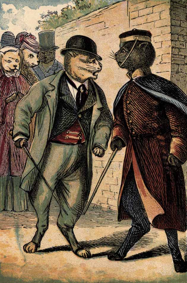 Captain Black and Sir Claude Scratch quarreling in the street.