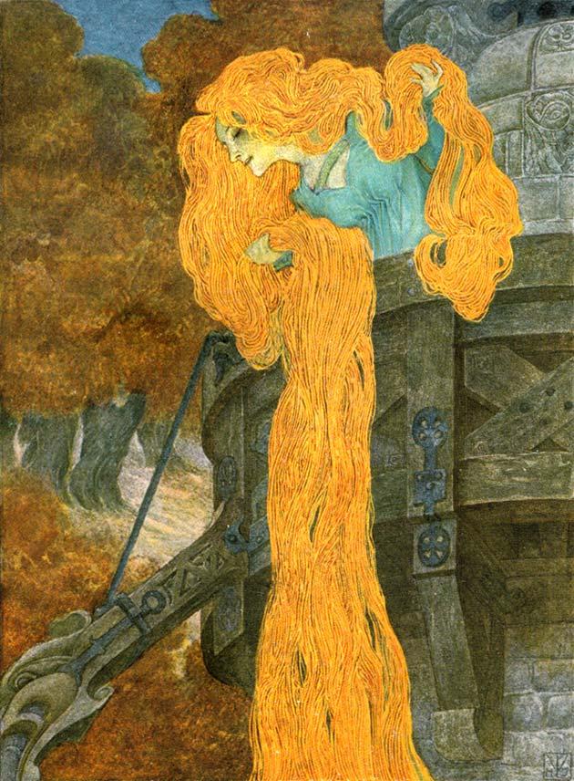 Illustration for Rapunzel by Heinrich Lefler