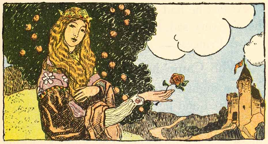 Portrait of the Princess holding a rose; a tree and a castle in the background