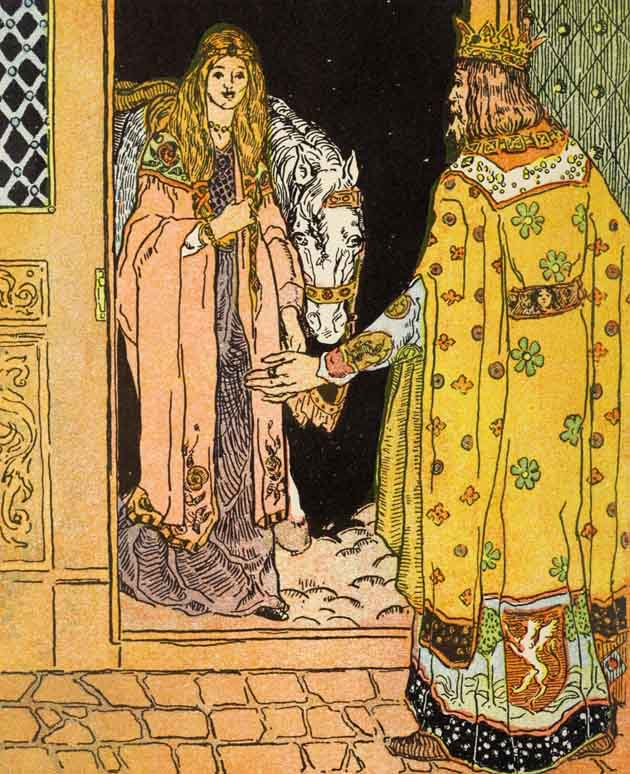 The kind old King opens the door of the castle to the Princess, water streaming out of her hair and out of her clothes