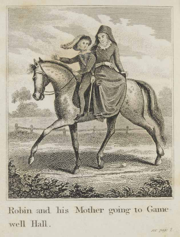 Robin Hood and his mother, riding a horse, going to Gamewell-hall
