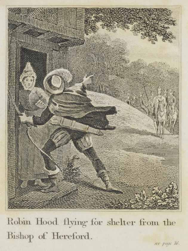 Robin Hood asking for shelter at the door of the old lady living in the wood