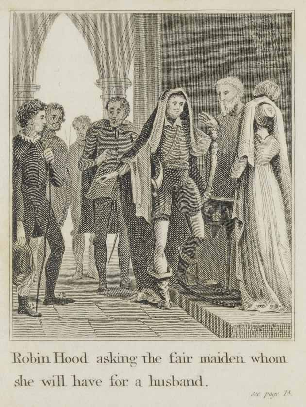 Robin Hood asking the maiden whom she will marry
