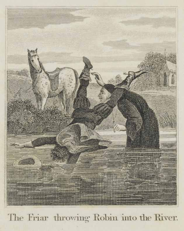 The friar throws Robin Hood in the river