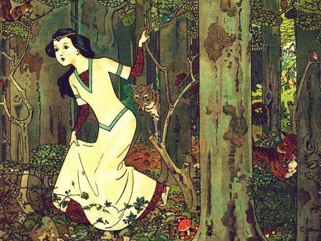 Illustration for Snow-White and the Seven Dwarfs by Franz Jüttner
