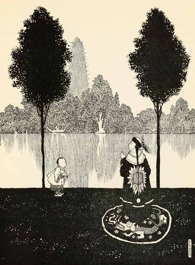 The Emperor and the little Cook-Maid walking in the garden