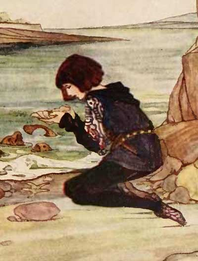 The trusty servant opening the mussel shell and discovering the golden ring