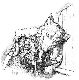 Illustration for The Wolf and the Seven Little Kids by Hermann Vogel