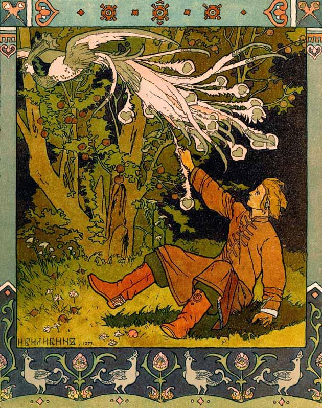 van Tsarevich, the Fire‑Bird, and the Gray Wolf, illustration by Ivan Bilibin