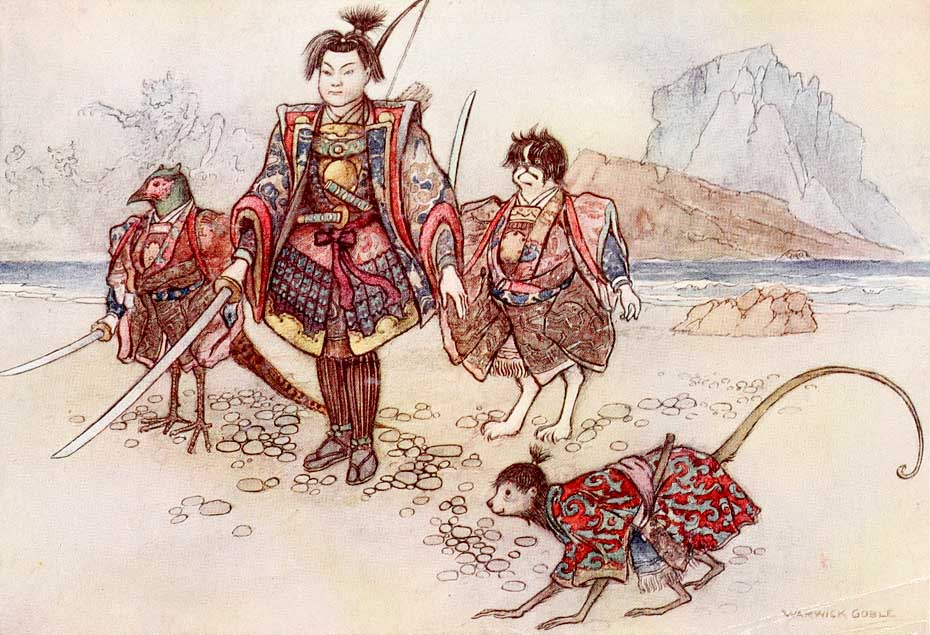 Momotaro, illustration by Warwick Goble