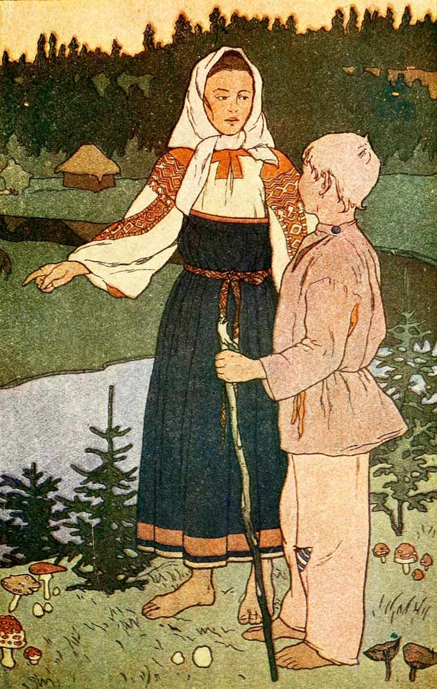 Illustration for The Little Sister and Little Brother, a russian fairy tale