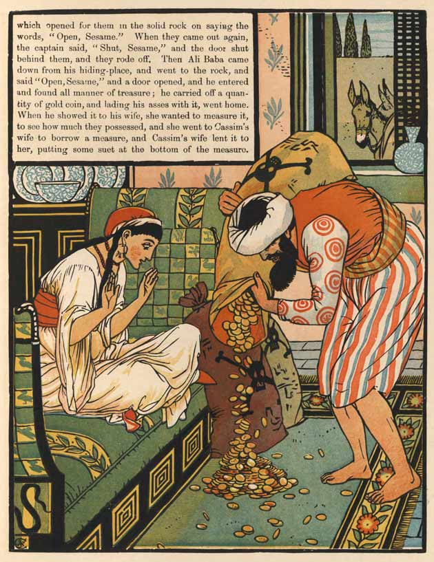 Illustration for Ali Baba and the Forty Thieves by Walter Crane