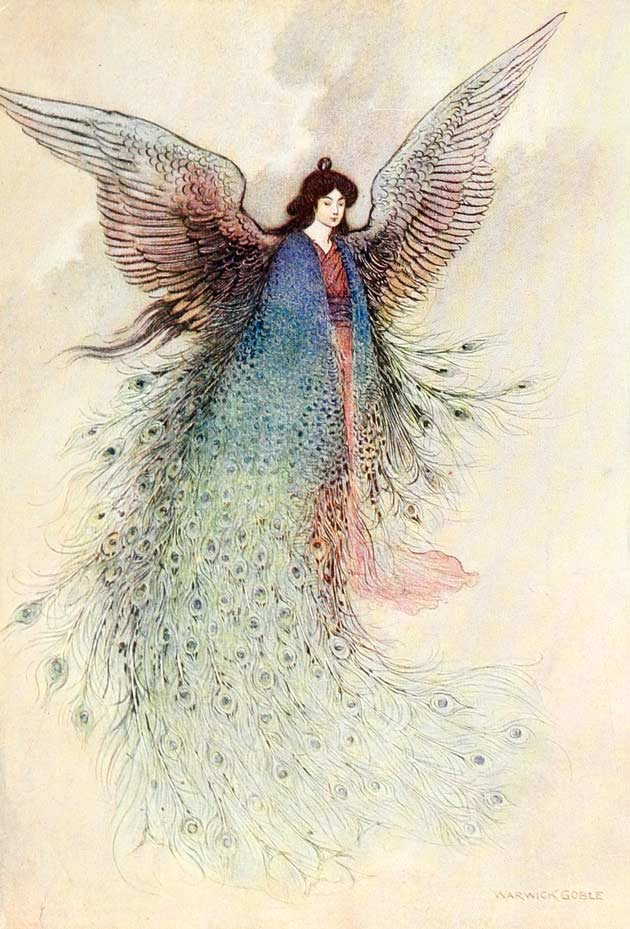 Illustration for The Moon Maiden by Warwick Goble