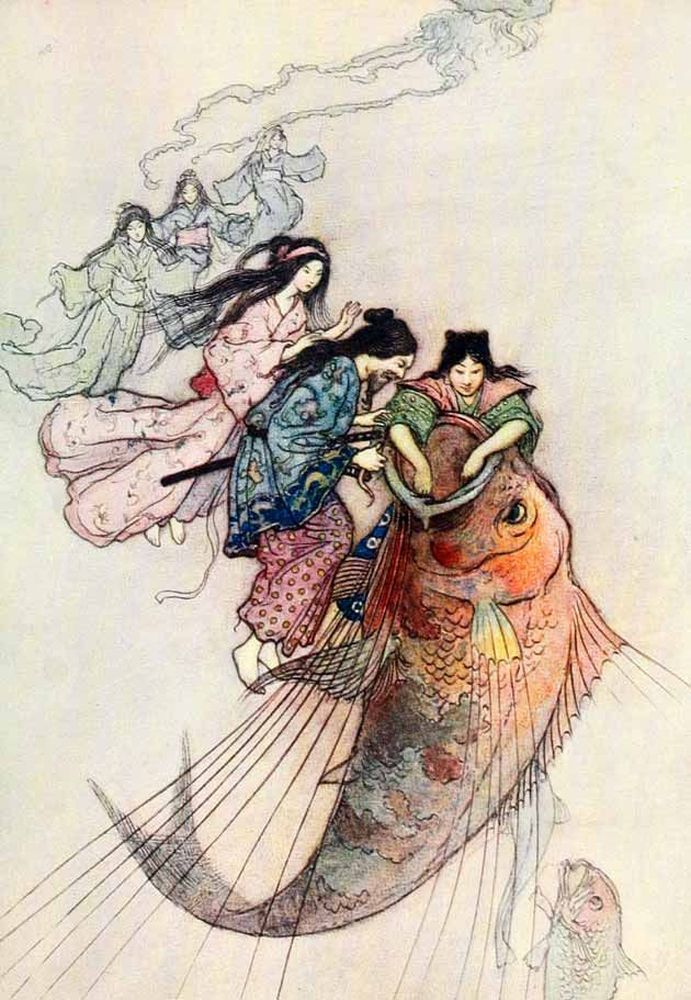 Illustration for The Sea King and the Magic Jewels by Warwick Goble