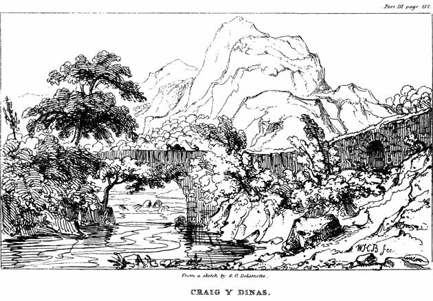 Engraved view of Craig y Dinas
