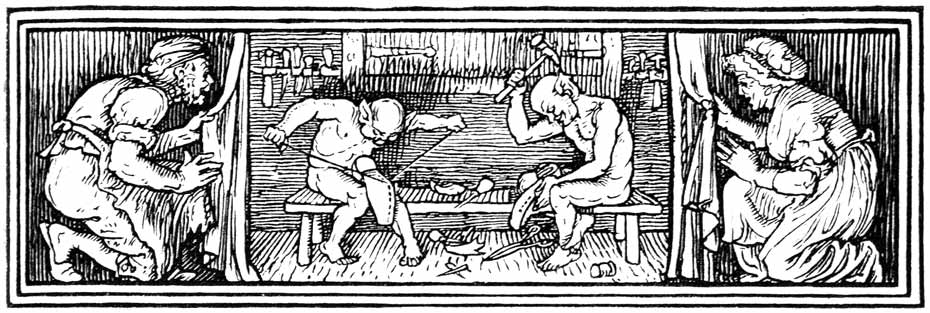 Illustration for The Elves and the Shoemaker by Walter Crane