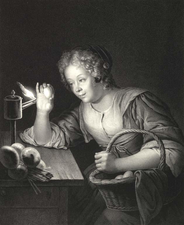 Girl Candling Eggs by Franz Seraph Hanfstaengl
