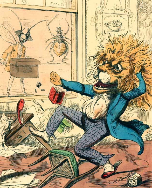 Illustration for The Lion and the Gnat by Charles H. Bennett